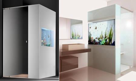 душевая кабинка с аквариумом