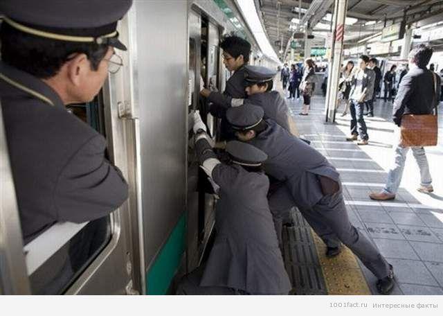 толкатели в метро Токио