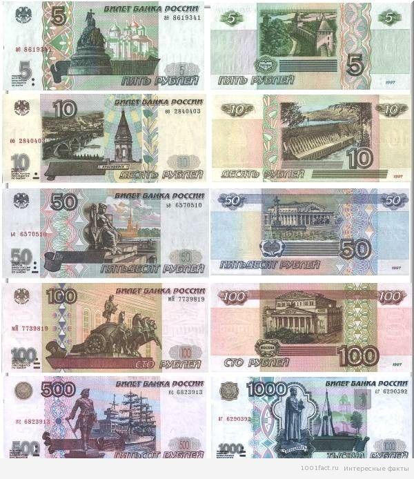 города на денежныю купюрах