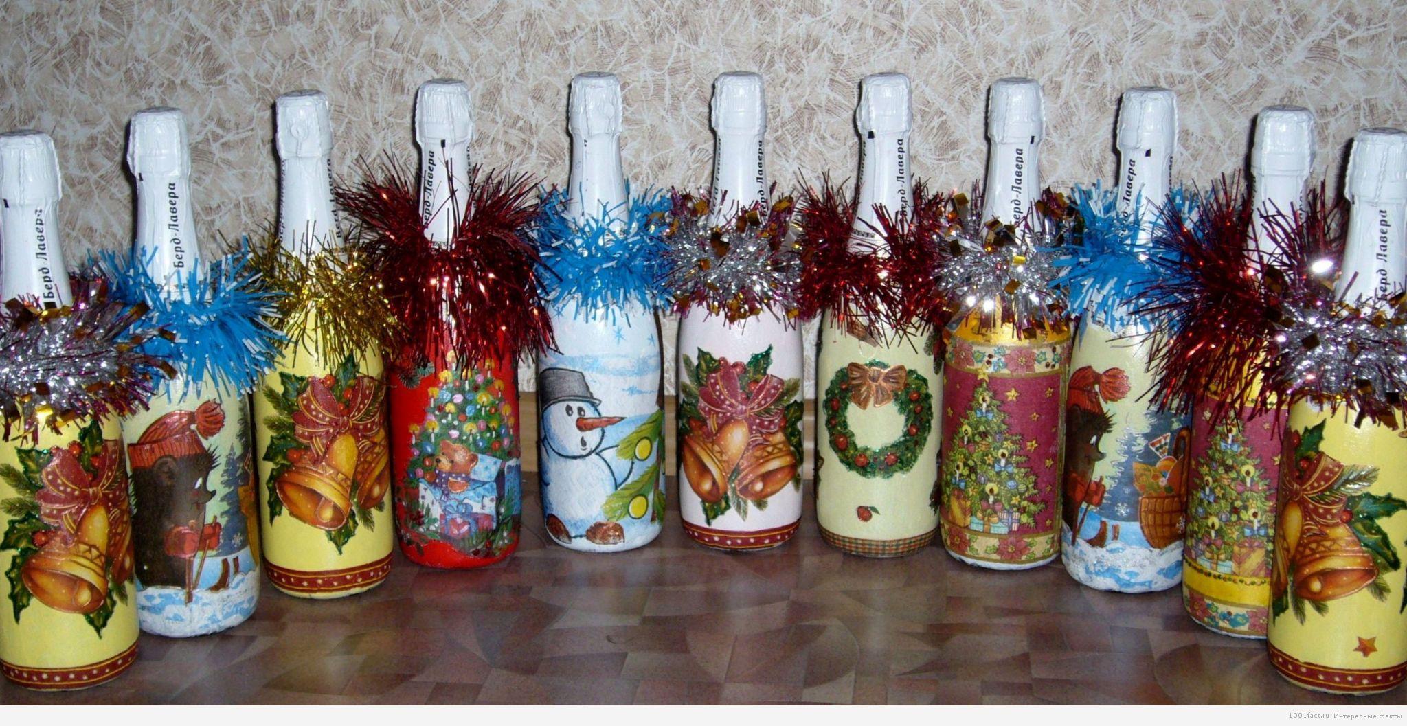 бутылки в декупаже